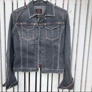AG faded-black vintage wash denim jacket size S
